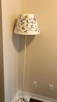White floral torchiere lamp