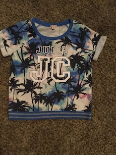 blue black and pink Juicy JC crew neck t shirt