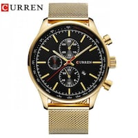 round gold chronograph watch with brown leather strap Montreal, QC H2M 1P6, Canada