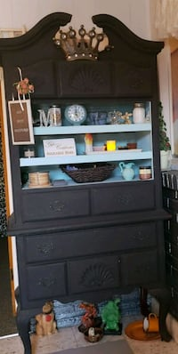 black wooden TV hutch with flat screen television McAllen, 78501