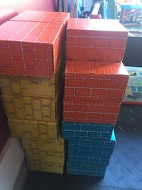 yellow, blue, and black storage boxes