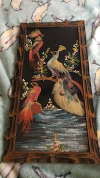 Mexican feather bird art wood framed wall painting boho pretty vintage Islip, 11782