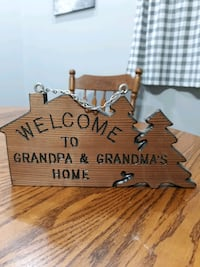 Welcome ...Wood sign/ chain to hang