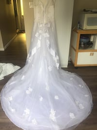 Women's white wedding gown