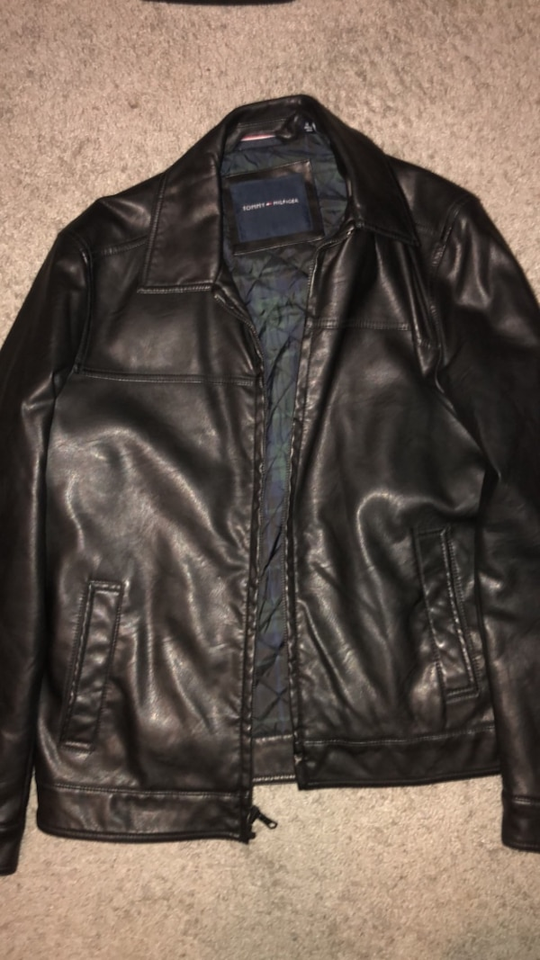 Tommy Hilfiger Black Leather Jacket Medium