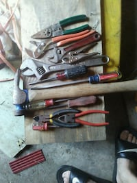 assorted hand tools in case
