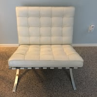 White Leather Barcelona chair with chrome frame  Maple Ridge