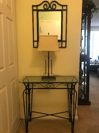 black metal framed glass top table null