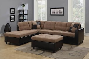 Brown and black sectional sofa