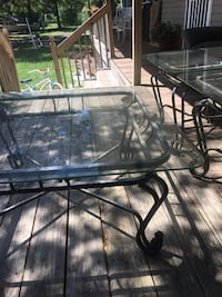 Two glass end tables and coffee table also have matching sofa table 357 mi