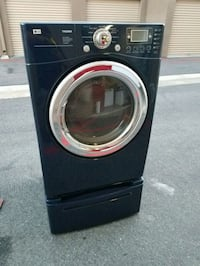 lg blue front load gas dryer w pedestal 2255 mi