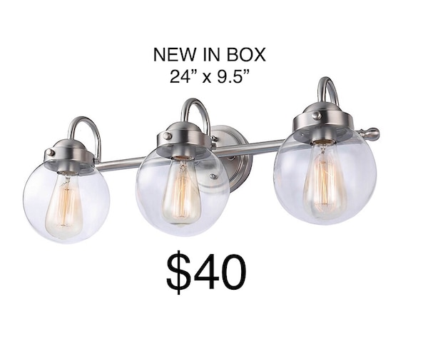 """BRAND NEW Vanity Light for bathroom. 24""""x9.5"""". $40. Brushed nickel finish. Uses 3 regular size bulbs max 60w each. Great for washroom sink. Modern and vintage wall lamp at the same time."""