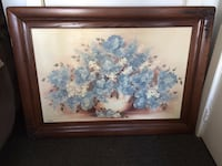 white and blue flowers painting with brown wooden frame Port Colborne, L3K 4C1