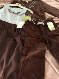 Girls size 14/16 pant and sweater and dress size 10.  See tags for original prices  Dover, 19904