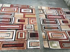 New Brown and Beige two rugs size:7×5ft