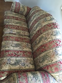 Tan, red, light blue floral fabric sofa Frederick, 21701