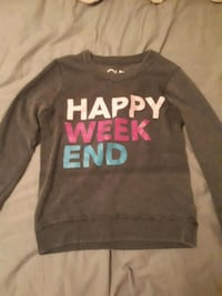 gray happy weekend printed crew-neck swater