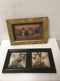 two brown wooden framed painting of flowers Dalton, 30721