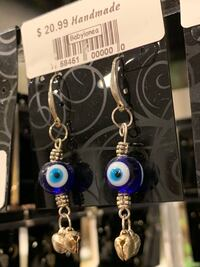 Local handmade new with tag blessed evil eye earrings handcrafted art Lutherville Timonium, 21093