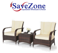 New- 3PCS Outdoor Patio Mix Brown Rattan Wicker Furniture Set Seat Cushioned Beige Mississauga