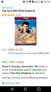 TOP GUN (HD-DVD 2007) - RARE - OOP - NEW FACTORY SEALED  *note this is Edmonton, T6X 1J9
