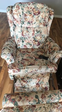 white, green, and pink floral sofa chair London, N5Y 4L8