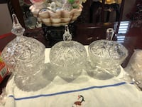 3 vintage/antique high quality hand cut Pinwheel candy bowls with lids; mint condition . $70 for 3 or $25 each. Hamilton, L9A 1T3