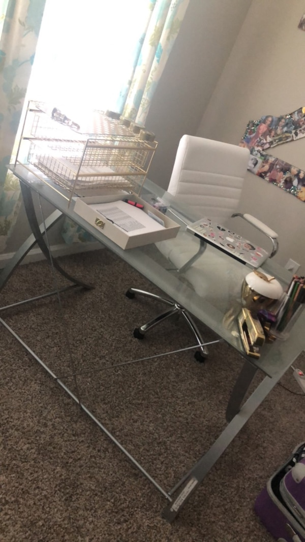 Glass Desk And White Leather Chair Set