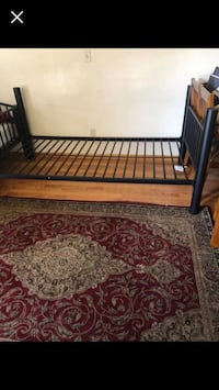 Black metal bed frame no mattress