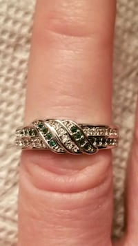 New 925 silver ring with green and white stones.