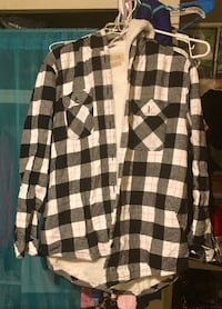 Women's xl hooded black white and pink lined flannel Kingman