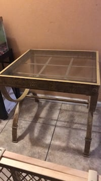 Metal frame glass top side table Metairie, 70003