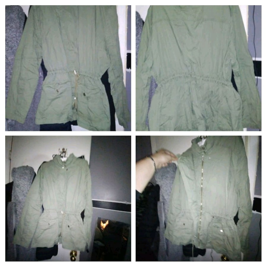 Ladies 2xl green army khaki zipup light fall jacke