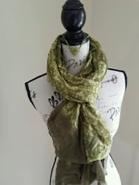 Olive green scarf and necklace