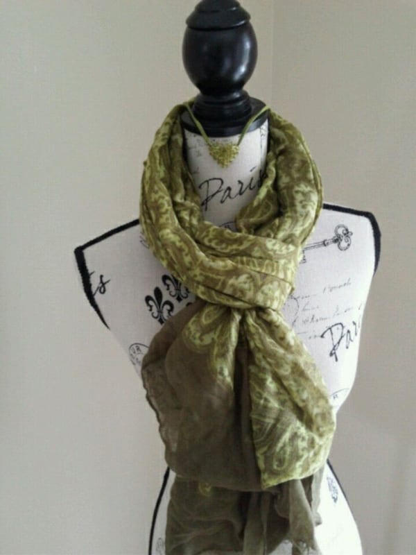 Olive green scarf and necklace 37b5799b-7258-4536-a927-1c89750d1b6d