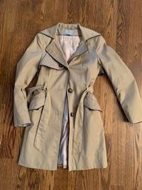 Women's trench coat- beige with blue piping size small/6