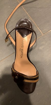 unpaired brown leather open-toe ankle strap heels Alpine, 91901