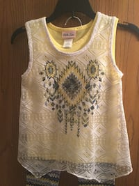 Brand new never worn girls size 6x Little Lass yellow tank top with white lace cover up and matching leggings  Pickerington, 43147