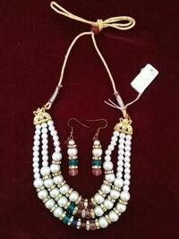 WHITE MOTI 3 LINE NECKLACE WITH EARING Nanded, 431604