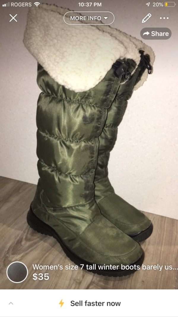Women's size 7 tall winter boots barely used smoke free home