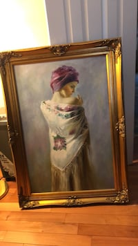 Lady in pretty shawl 43x30 exquisite gold frame. Painting
