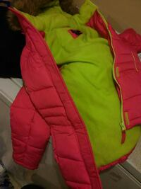 pink and green zip-up bubble jacket