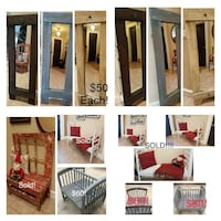 Mirrors! Great Gift Idea! $50 Each. 1- Bench Left!!!