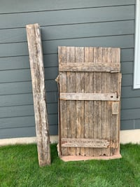 Authentic barn door and assorted beams