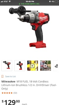 Milwaukee M18 1/2in Brushless Drill/Driver Stockton, 95219