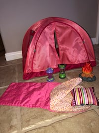 American girl doll tent & lantern with OG accessories and sleeping bag for dolls  Riverside, 92508