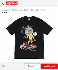 "SUPREME DANIEL JOHNSON ""KILL EM ALL"" TEE MED BLACK"