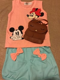 New Peach Mickey Mouse Clothing Set