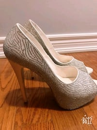 pair of gray peep toe platform stilettos Vaughan, L4H 2L3