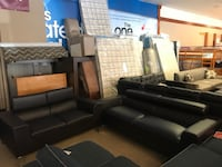 Black Bonded Leather Sofa & Loveseat